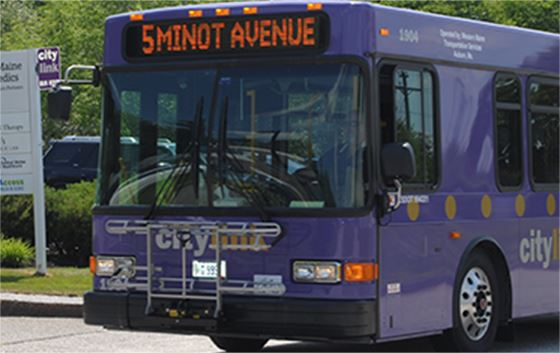 Purple CityLink bus on the move